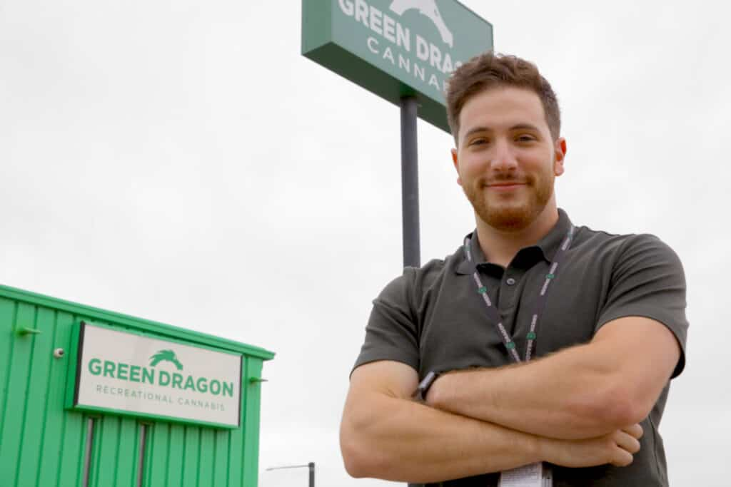 Alex Levin in front of Green Dragon