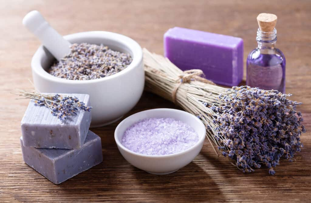 Lavender spa products rich in linalool